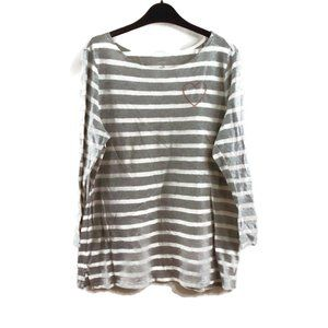 Old Navy Striped Shirt L Heart Embroidered Gray